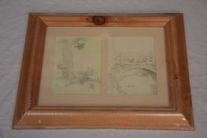 Winnie the Pooh - Tigger catch and Bridge sketch print 2 styles